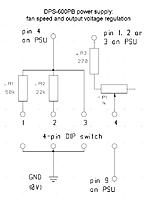 Name: DPS-600PB.jpg Views: 1627 Size: 77.2 KB Description: Modification with a 4-pin DIP switch: 50kOhm resistor gives ~ 2/3 the fan speed 22kOhm resistor gives ~ 1/2 the fan speed both those connected in parallel give ~ 1/3 the fan speed shorting pin 4 to ground gives min fan speed voltage regulation ON/OFF