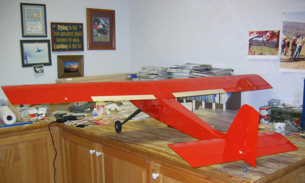 Name: Covering near complete.jpg Views: 425 Size: 60.0 KB Description: Really RED! Trim will be black, white, and aluminum. Have used these together before with good cosmetic results plus high visibility in the air.