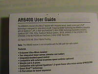 Name: DSC05896.jpg Views: 297 Size: 34.1 KB Description: The AR6400 User guide is also applicable to the AR6400L. Unfortunately, this manual is not included with the 4-Site at this time.