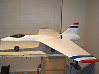 Name: Q2.4 035.jpg Views: 200 Size: 147.6 KB Description: This was my first big scratch build, 100mm fan center mounted behind the wing. It was ugly but flew well. Lost it in a spin, needed more vertical area