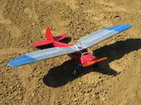 Name: walter_0505.jpg Views: 471 Size: 122.8 KB Description: version1.4 - maiden aileron flight. HexTronic CF2822 motor and GWS 8060HD prop. 1450Mah 3S Lipo banded to the belly. LG borroed from another plane. Heavy. Ugly. Abused. Flies great.