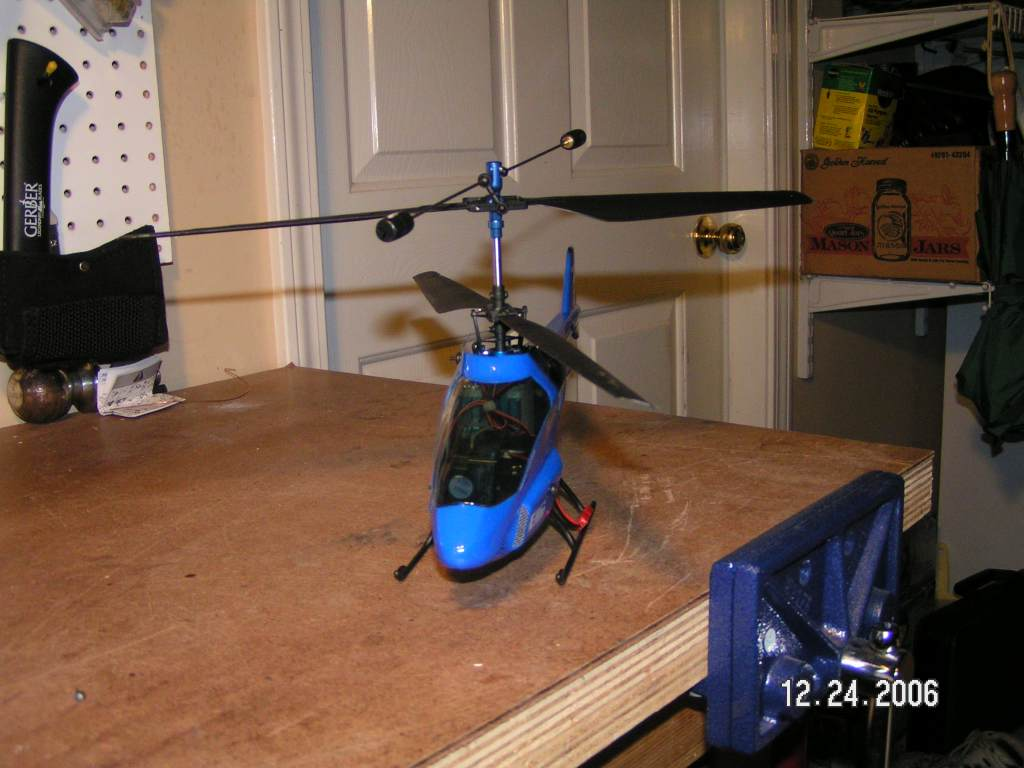 Name: Helis (3).jpg Views: 230 Size: 75.4 KB Description: Blade CX2 - I crashed it into my roof and destroyed the stock body.  I had to replace with the CX police body until the CX2 bodies are available.
