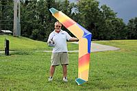"Name: Flying Rainbow & JR 2.4.jpg Views: 215 Size: 304.0 KB Description: 117"" span, 1/64"" ply over foam.  Only 21 ever built."