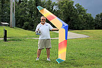 """Name: Flying Rainbow & JR 2.4 medium.jpg Views: 152 Size: 162.3 KB Description: 117""""  1/64"""" Plywood over foam. two piece wing, it was featured as a construction article in RC Soaring Digest Magazine"""