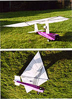 """Name: rogallo 4.jpg Views: 203 Size: 139.0 KB Description: Nearly seven feet area, sail from """"Solartex"""". Carbon spars with clevis ends epoxied in place."""