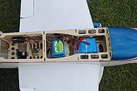 Name: Split A123 battery pack.JPG Views: 30 Size: 331.6 KB Description: There are 8 A123 cells behind the wing tube, and 6 A123 cells in front of the wing tube.  After this photo was taken, wire ties have been added to clean up the receiver and servo wiring.