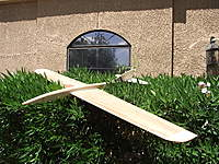 """Name: DSCF9603.jpg Views: 73 Size: 139.3 KB Description: This is Doug Montgomery's Hybrid Interrorgator 60"""" MH-51 foiled sloper. There's kind of a streched Toucan fuse."""