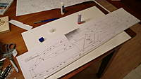 Name: CIMG1170.jpg Views: 450 Size: 49.3 KB Description: Part of the plan glued to the depron with paper glue. When the parts are cut the paper is easy to remove