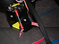 Name: SAM_0019.jpg Views: 84 Size: 186.1 KB Description: My servo in postion, I used some old RC car steering parts I had lying around, they connect to ball links.