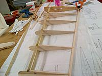 Name: Armageddon Construction Inboard Wing Assembly 09-30-2013 (3).jpg Views: 35 Size: 1,015.5 KB Description: Also the leading and trailing edges are made from lath wood used for home construction.