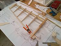 """Name: Armageddon Construction Inboard Wing Assembly 09-30-2013 (5).jpg Views: 42 Size: 1.00 MB Description: The trailing edge joiner and elevator mounting plate is made from 1/4"""" aircraft plywood"""