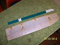 Name: R 100_4898.jpg Views: 77 Size: 38.6 KB Description: The modified right wing of a Spectra sailplane showing the recesses for the flap and aileron servos installed on bottom surface.