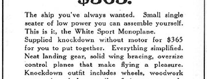 The original White Sport Monoplane — not a bad deal at $365 (at least in 1919, anyway).