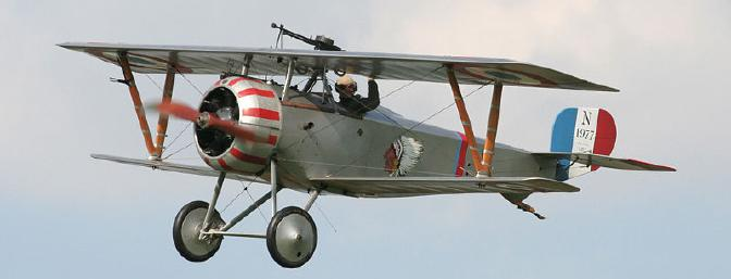 "Believe it or not, there are still some Nieuport 17 aircraft in good working order. Here, one is flying at the English Heritage ""Festival of History '07"". (Photo by Tom Smith via Wikimedia)"