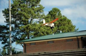 The ideal conditions for flying this model are a baseball diamond and a calm day.