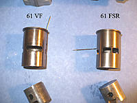 Name: P1000159-2.jpg Views: 135 Size: 213.3 KB Description: Old Performance Specialties 61VF custom Piston and liner on the left. Stock 61 FSR on the right.