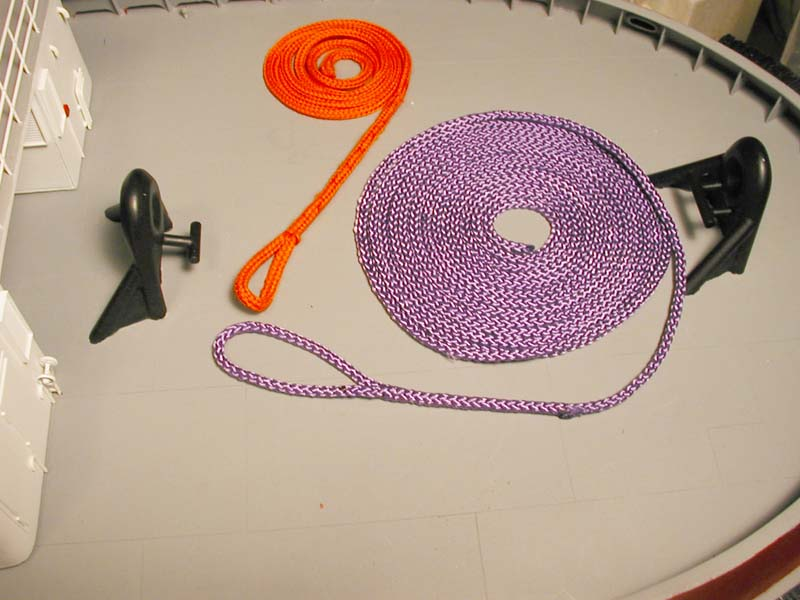 """Name: P1010107 copy.jpg Views: 431 Size: 66.9 KB Description: About a 130"""" of towline in purple """"plasma"""" rope. (it started out as 144""""...) :p"""