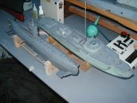 """Name: Bob's sub3.jpg Views: 116 Size: 73.0 KB Description: Sub and 1/72nd scale schnell boat both fire """"torpedos""""."""