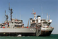 Name: USS_Leader_(MSO-490)_aboard_Super_Servant_3.jpg Views: 191 Size: 94.2 KB Description: Super Servant 3 transporting Minesweepers to the Persian Gulf during the 1990 Desert Sheild operations.