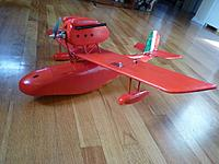 """Name: P1020865.jpg Views: 140 Size: 95.2 KB Description: Savoia S.21 """"Porco Rosso"""" Seaplane. This one has a 32"""" WS, but I am retiring it in favor of a 36"""" version I am currently finishing. This is my design built off of papercraft plans found on the internet."""