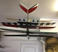 Name: IMG-2643-2.jpg Views: 28 Size: 1.84 MB Description: 5 RTF sailplanes stored safe n sound up out of harm's way in your Garage or Workshop