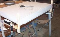 Name: Desperado Build 02 01.jpg Views: 219 Size: 77.4 KB Description: Ready to cut the anhedral angle in the foam roots. Cores are held in place in the foam beds or shucks with drywall screws.