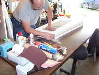 Name: 100_7145.jpg Views: 152 Size: 114.8 KB Description: Sanding the plywood wing skins flush with the foam.