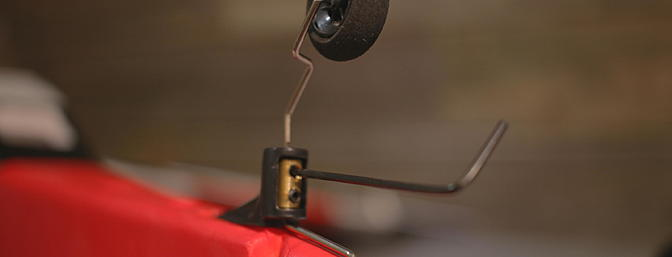 <b>Steerable tail wheel installed and aligned with the rudder.</b>