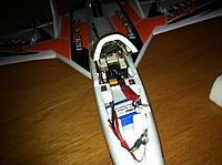Name: photo01s.jpg Views: 72 Size: 94.0 KB Description: Inside, Umarim v1 autopilot, xbee, u-blox GPS, ESC, 2x servos + motor.