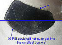 Name: 40 PSI and corners.jpg Views: 520 Size: 85.7 KB Description: At 40 PSI there were still some voids in sharp corners.  I think that a more stretchy material could make it around at this pressure.  Maybe try another type later.