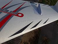 """Name: removed bumps.jpg Views: 34 Size: 444.2 KB Description: removed """"bumps"""" on wing and taped over.  No difference in stall or spin.  except now the model will stall straight ahead."""