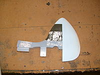 """Name: new rudder (2).jpg Views: 156 Size: 184.3 KB Description: sanded to shape and """"dry fit"""" with original fin.  will be hinged with """"live"""" nylon hinges."""
