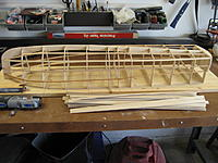 Name: 001.jpg Views: 93 Size: 115.2 KB Description: This is the finished framework.  I like the way the sheer tapers down to the stern.  I only had one bulkhead that needed some adjustment.