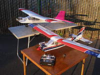 Name: My first trainer and a friend.jpg Views: 231 Size: 130.0 KB Description: The pink and white plane was a Sig Kadett 25 LT.I made my first solo flights with at our club field with this plane. The other plane was a RPM models Snark 20 TT they were great learning tools . As my skills progressed they were sold to a father and son a