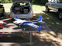 """Name: P7300063.jpg Views: 129 Size: 1.05 MB Description: 48"""" Blue and White Extreme Flight MXS  4S2000-2800 ,   50 amp esc , AXI 2820/12 , Hi tech servos. removed wheel pants larger wheels for grass fields"""