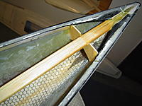 Name: DSC01313.JPG Views: 90 Size: 831.4 KB Description: Forward bulkhead to support the jib pivot, and the hull seam repair at the bow