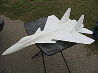 Name: IMG_0641.jpg Views: 453 Size: 165.9 KB Description: Whew! After three days of sanding and shaping. Here she is on maiden day...