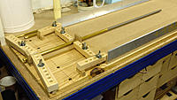 """Name: DSC_7158.jpg Views: 34 Size: 1.44 MB Description: 3. I made a 20cm (8"""") long jig out of 9mm (3/8"""") MDF to hold my boring tube at the right height and clamped it to the bench.  I aligned my dihedral tray with the boring tube."""