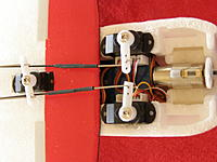 Name: P1200189.jpg Views: 393 Size: 87.1 KB Description: Rotary servos, geared brushed motor.  Not sure why they're so far off center, may have to address that eventually.