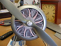 """Name: 2012_0504170006.jpg Views: 216 Size: 244.8 KB Description: Picture of a Le Rhone printed off the net.  Resized on my copier then glued to a disc of 1/4"""" foam board.  It is just friction fit into the cowling.  Probably will not leave it in for flight.  No air holes."""