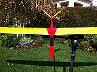 Name: Big pic file from iPhone 816.jpg Views: 159 Size: 313.8 KB Description: Temporary antenna guides installed. I need to hit the hobby shop again for some more red, yellow and white tubing.