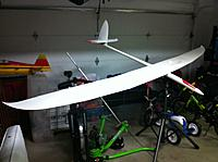 Name: IMG_2432.jpg Views: 232 Size: 172.4 KB Description: The surfaces have crazy travel capability so a quick roll rate will be attainable. Relatively high aspect ratio wings this will be a good windy day backup as well. Should build out to around 85oz.