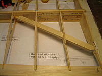 Name: IMG_2701.jpg Views: 341 Size: 145.8 KB Description: Right wing upside down. Spar is 4 pieces of hardwood, brass wing box and many laminated pieces. The diagonal hardwood is the drag spar.