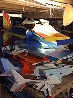 """Name: Foamie Genocide 1.jpg Views: 387 Size: 91.3 KB Description: Just one part of the """"boneyard"""".  See """"A Foamie Reminiscence"""" in my blog for a complete list of the planes in this pile."""