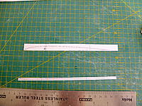 Name: DSCF8081.jpg Views: 89 Size: 1.09 MB Description: Rib printed off using Profili with the centreline shown, the ends marked and cut square, then cut along the centreline.