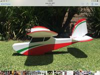 Name: 913BFEBD-F936-4077-8D57-1519F7D01815.jpg Views: 7 Size: 525.6 KB Description: Cbalga's Jupiter Duck has a boat hull stepped for water but could be used to Rotate Off Grass.  No float drag.  Pylon tractor thrust that is partially blocked by sloped windscreen.