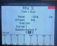 Name: B3F9B56E-6125-4202-8C3C-C22A2ADD0193.jpeg Views: 19 Size: 1.03 MB Description: Mix 3 shows F1 switch position set to -30 percent throttle to rudder mixing.