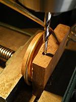 Name: IMGP1338.jpg Views: 120 Size: 99.9 KB Description: Drilling the teak block for 6-32 screw.