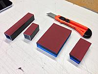 Name: sanding-blocks.jpg Views: 161 Size: 177.1 KB Description: Blocks. aluminium blocks for coarser grades and foam for finer grades.