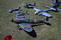 Name: Warbirds Over LOS-8.jpg Views: 20 Size: 910.9 KB Description: Jim's Spitfire and his latest plan built Bf110, electrified from an RCSA freeplan. Jim Wilson's converted FF FW-190 and Bf109 in the background.